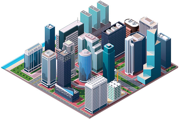 city center - isometric rendering