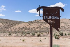 California Trail sign, in the Nevada desert