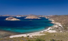 cruise ship on a turquoise sea near Patmos Island, Greece
