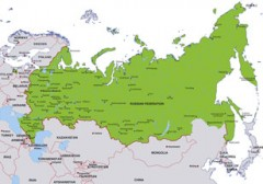 Russia map, showing Moscow, the Russian capital, and other Russian cities
