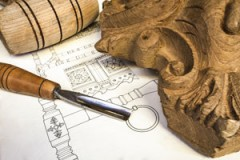 wood carving with mallet, gouge, and furniture plans