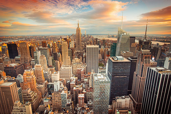 aerial view of midtown New York City