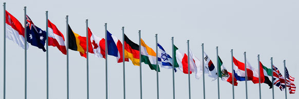 national flags on flagpoles