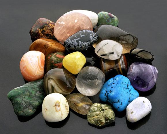 colorful polished gemstones
